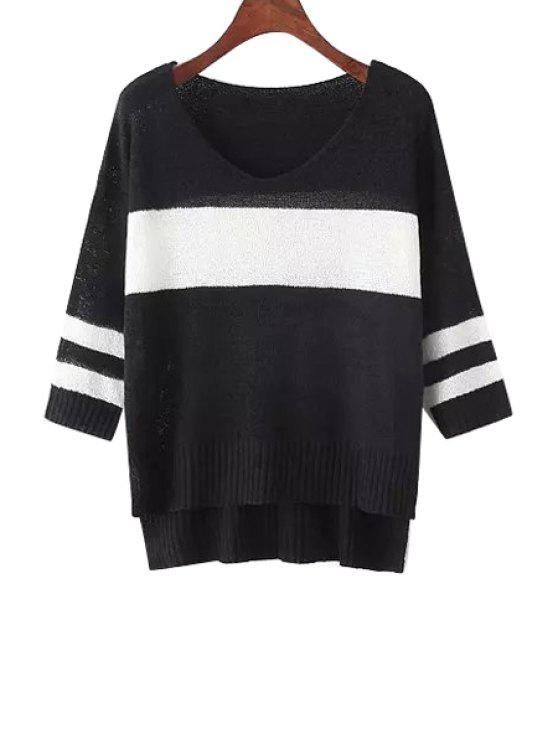 hot Stripes Color Block High Low Hem Sweater - BLACK ONE SIZE(FIT SIZE XS TO M)