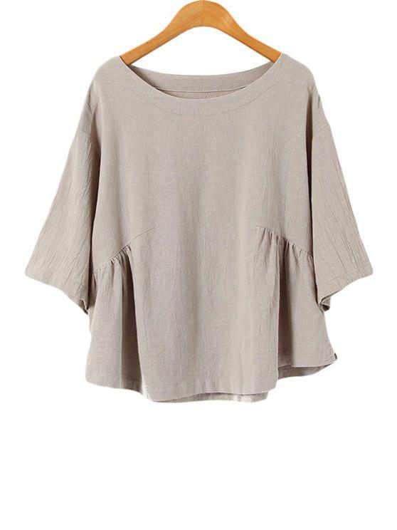 women's Half Sleeve Solid Color Blouse - GRAY ONE SIZE(FIT SIZE XS TO M)