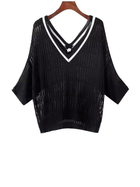 lady Striped V-Neck See-Through Kintted Sweater - BLACK ONE SIZE(FIT SIZE XS TO M)