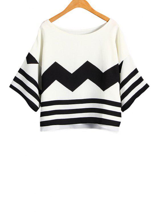 shops Geometric Print 3/4 Sleeve T-Shirt - WHITE AND BLACK M
