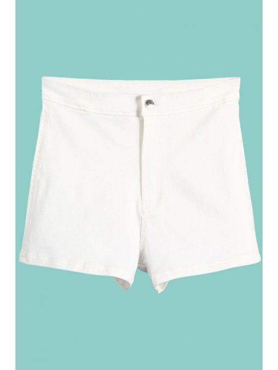 ladies High Waisted Denim Shorts - WHITE S