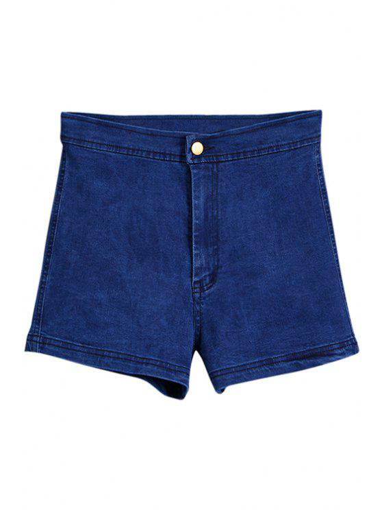 hot High Waisted Denim Shorts - LIGHT BLUE M