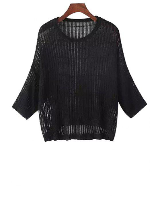 latest Solid Color Hollow Out Knitted Sweater - BLACK ONE SIZE(FIT SIZE XS TO M)