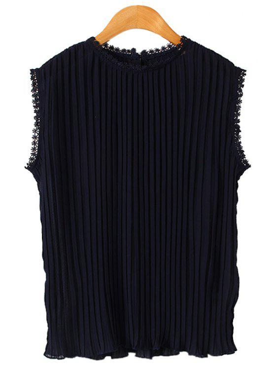 shop Pleated Chiffon Sleeveless Blouse - PURPLISH BLUE M