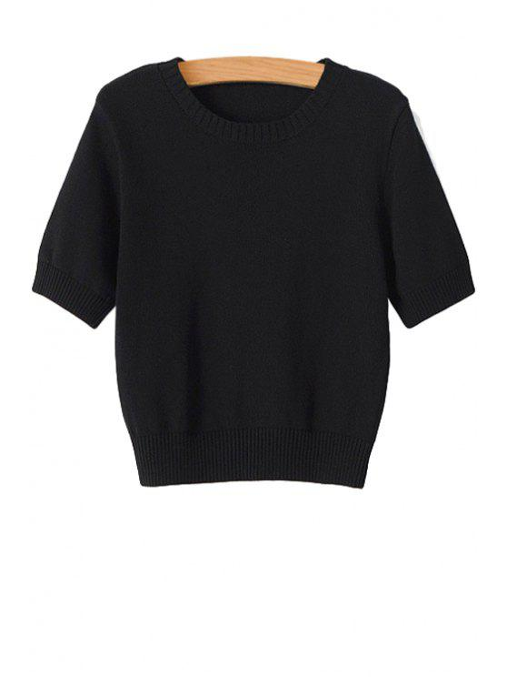 outfit Solid Color Short Sleeve Sweater - BLACK M