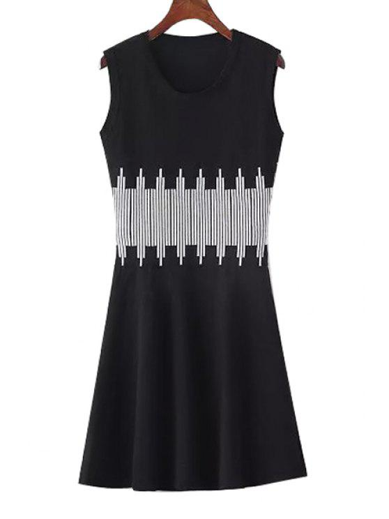 latest Vertical Stripes Knitting Sweater Dress - BLACK ONE SIZE(FIT SIZE XS TO M)