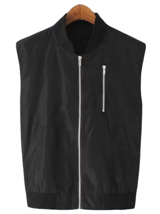 trendy Stand-Up Collar Zipper Embellished Waistcoat - BLACK S