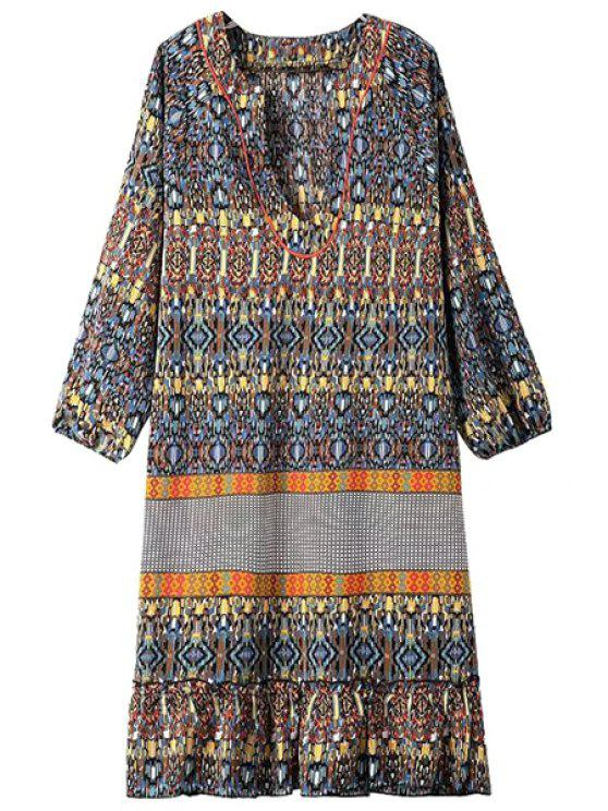 women's Color Block Argyle Printed 3/4 Sleeve Dress - YELLOW S