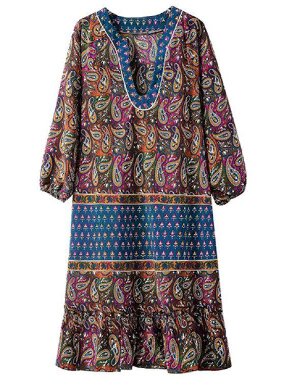 new Color Block Paisley Printed 3/4 Sleeve Dress - PURPLISH BLUE S