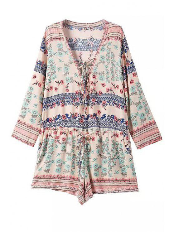 lady Tiny Floral Print Tie-Up Long Sleeve Romper - COLORMIX S