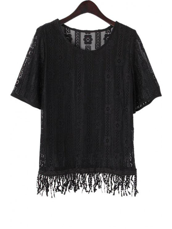 chic Lace Hollow Short Sleeves T-Shirt - BLACK M