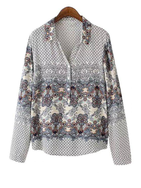 fashion Polo Collar Argyle Floral Print Long Sleeve Shirt - WHITE S
