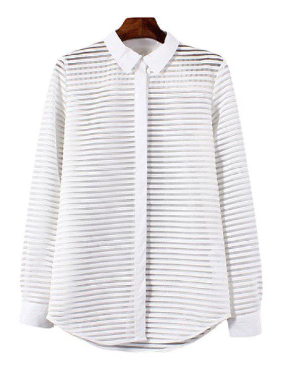 buy Polo Collar See-Through Stripe Long Sleeve Shirt - WHITE S