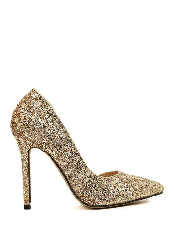 best Stiletto Heel Sequined Pointed Toe Pumps - GOLDEN 35