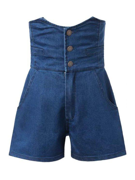 latest Three Buttons Back Elastic Denim Shorts - DEEP BLUE S