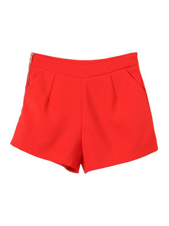 shop Solid Color High Waist Wide Leg Shorts - RED M