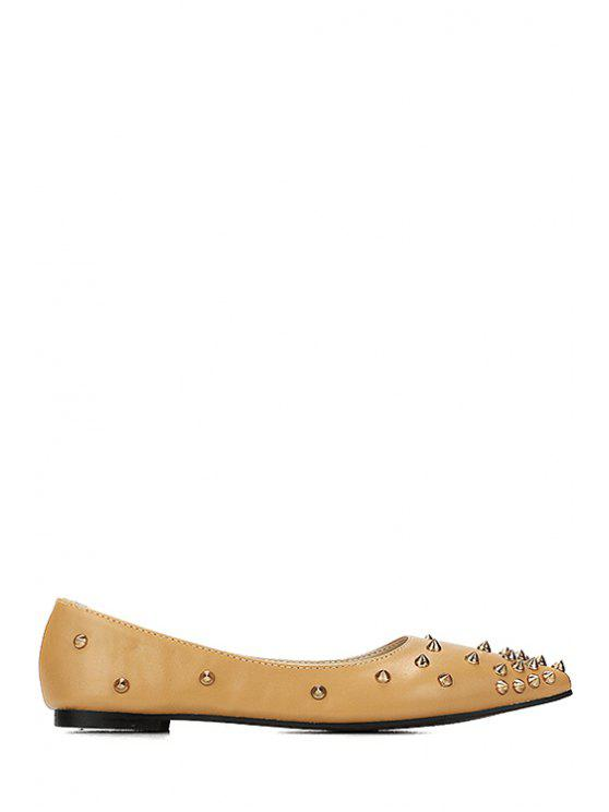 buy Rivets Pointed Toe Solid Color Flat Shoes - BROWN 35