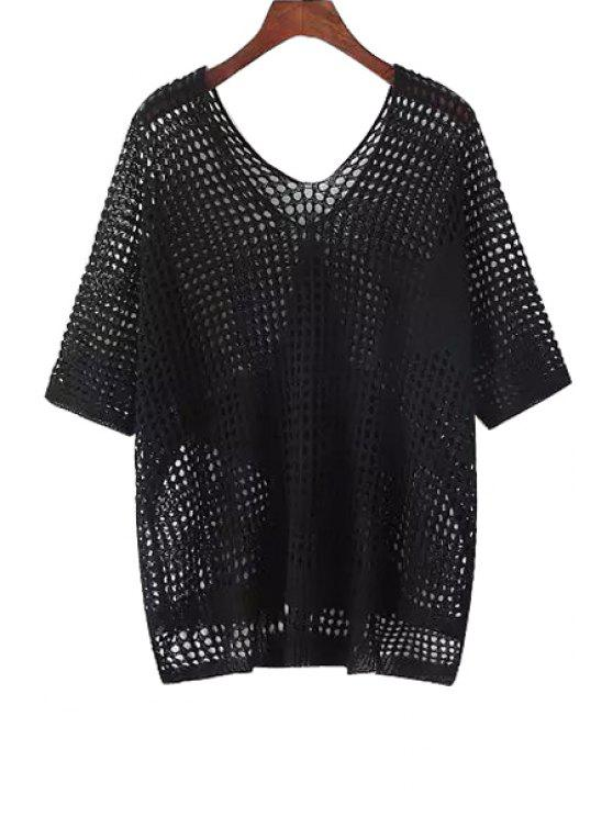 shops Solid Color Star Pattern Mesh Design Knitted Sweater - BLACK ONE SIZE(FIT SIZE XS TO M)