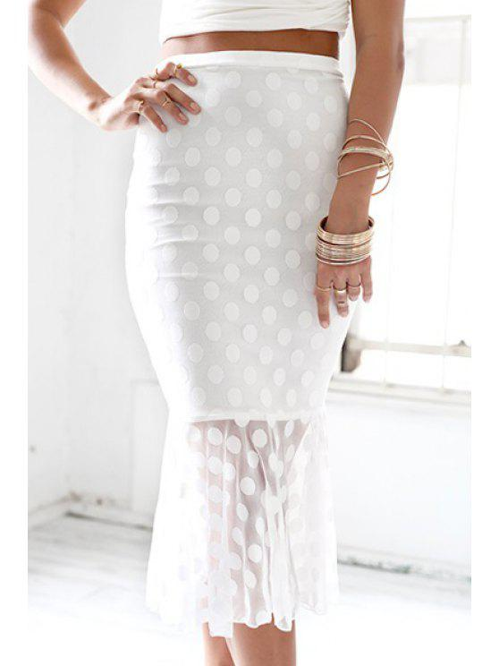 outfits Polka Dot High Waisted Mermaid Skirt - WHITE S