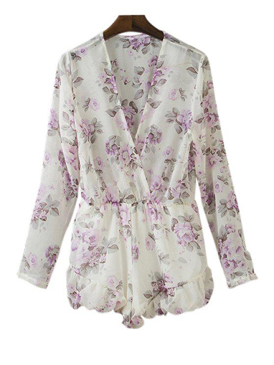 unique Floral Plunging Neck Long Sleeve Playsuit - WHITE S