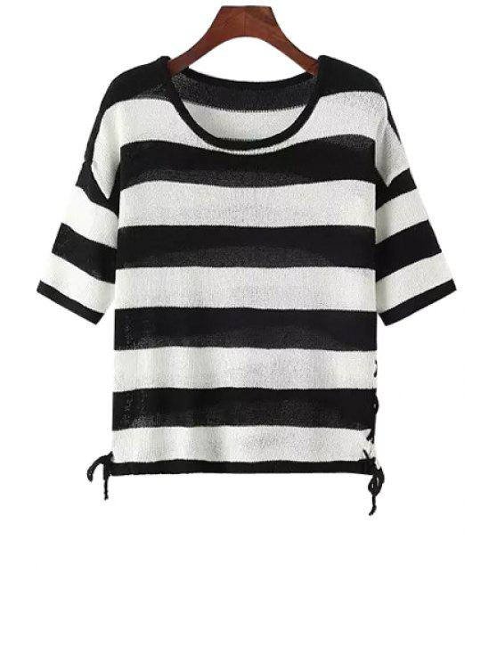 shop Short Sleeve Stripes Lace-Up Knitted Sweater - WHITE AND BLACK ONE SIZE(FIT SIZE XS TO M)