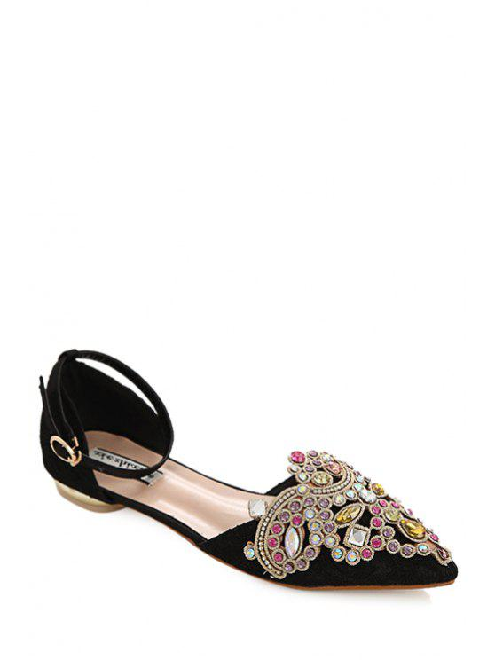 22cb3a855dc0 women s Ankle Strap Rhinestones Pointed Toe Flat Shoes - BLACK 37