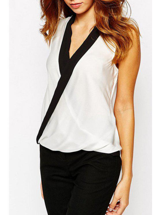 outfits Black Edging Splicing Cross Sleeveless Tank Top - WHITE S
