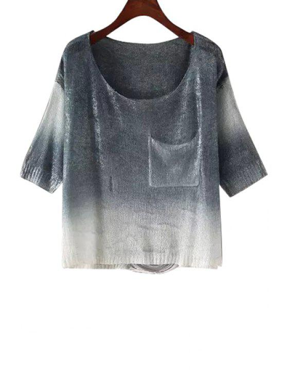 buy Pocket Design Ombre Color Knitted Blouse - GRAY ONE SIZE(FIT SIZE XS TO M)