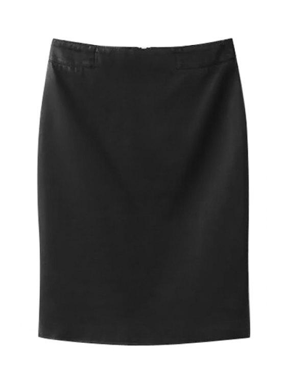 affordable High-Waisted Zipper-Fly PU Leather Black Skirt - BLACK L