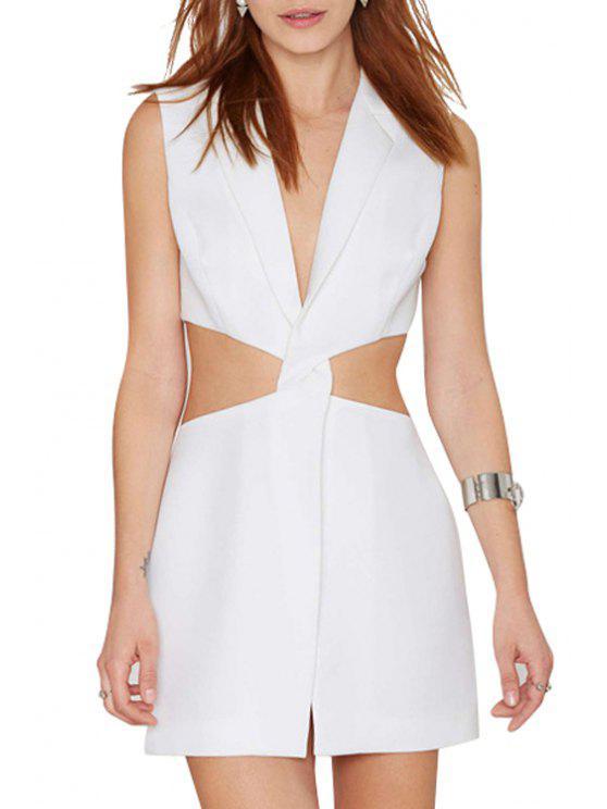 women Deep V Neck Cross Waist Hollow Out Dress - WHITE M