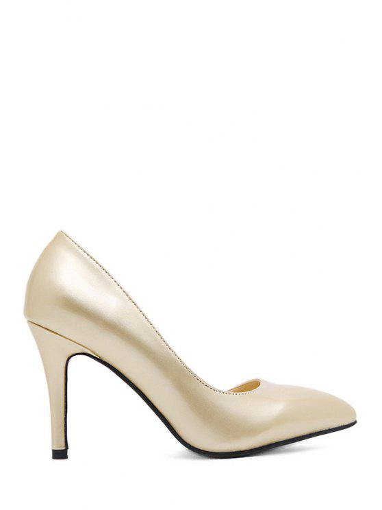 shop Sexy High Heel Solid Color Pointed Toe Pumps - GOLDEN 35