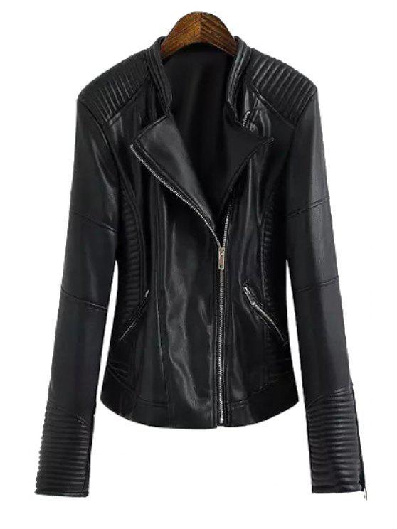 women Pocket Design All-Match PU Leather Jacket - BLACK S