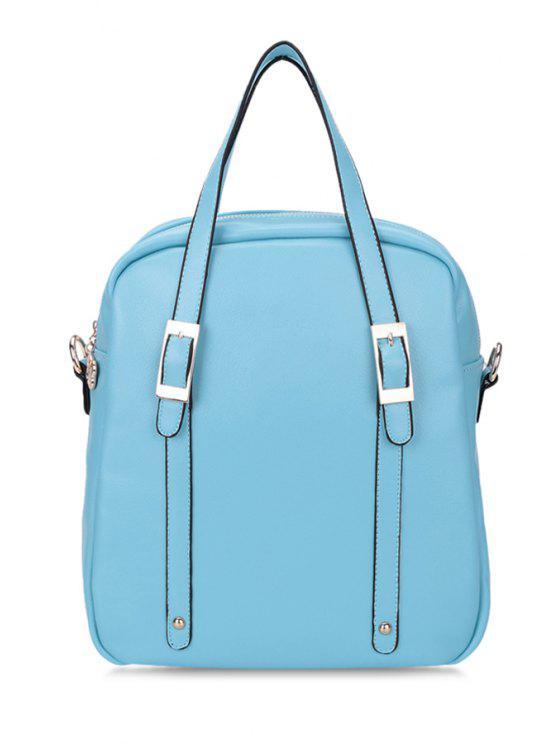 latest Buckle Rivets Solid Color Tote Bag - LIGHT BLUE