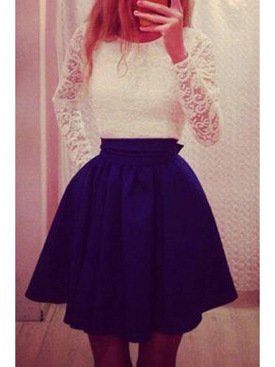 shops Lace Spliced Long Sleeve Flare Dress - BLUE S