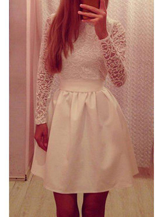 affordable Lace Spliced Long Sleeve Flare Dress - WHITE M