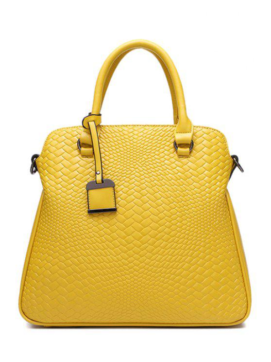 unique Woven Pattern Embossing Pendant Tote Bag - YELLOW