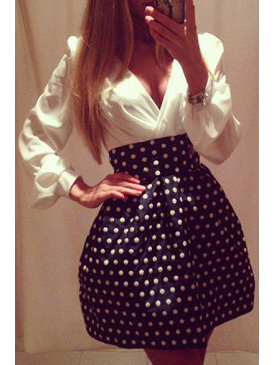 ladies Polka Dot Spliced Long Sleeve A Line Dress - WHITE AND BLACK S