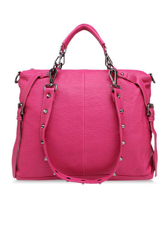 women's Buckle Belt Rivets Zipper Vintage Bag - ROSE