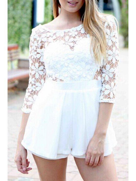 womens Crochet Flower Spliced 3/4 Sleeve Playsuit - WHITE S