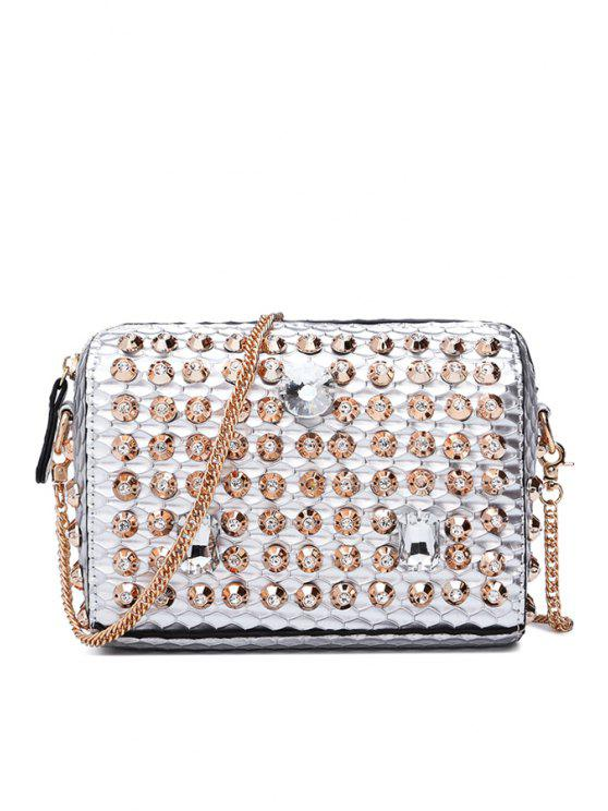 affordable Rhinestones Chain Zipper Crossbody Bag - SILVER