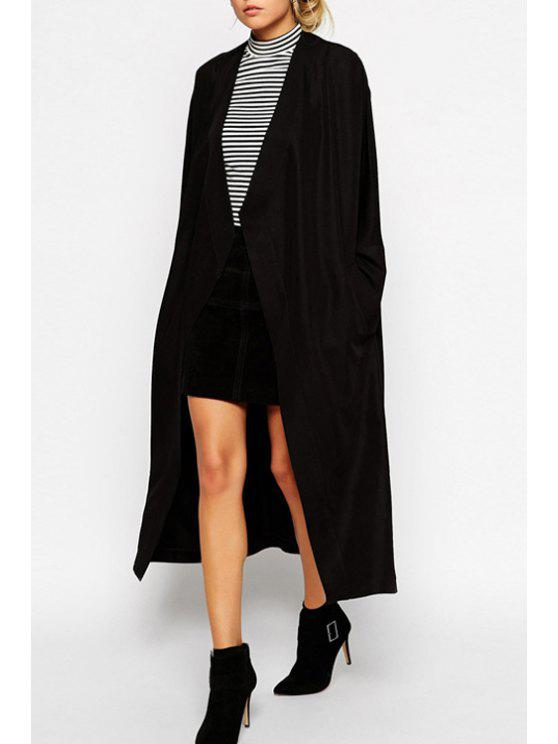fashion Collarless Solid Color Long Sleeve Trench Coat - BLACK S