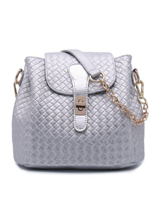 shop Woven Pattern Hasp Shoulder Bag - SILVER