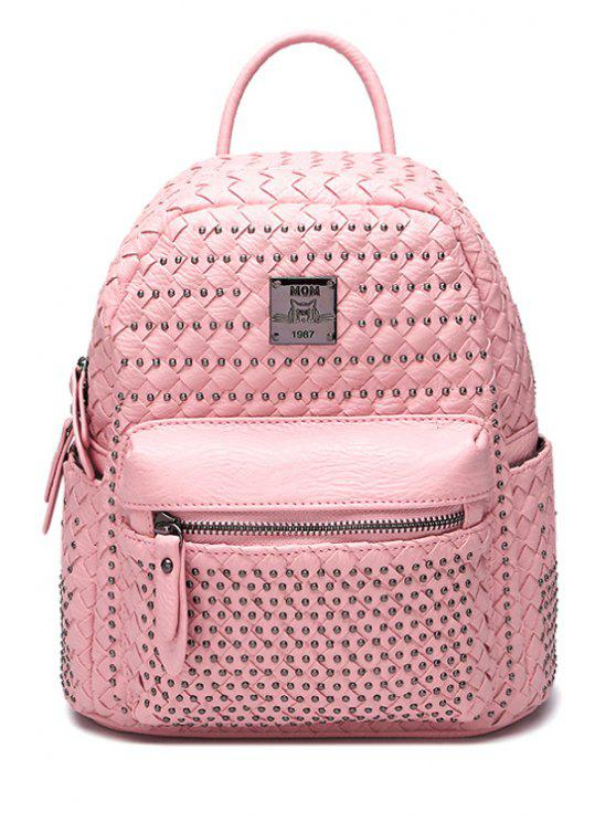 women Rivets Weaving PU Leather Zipper Satchel - PINK