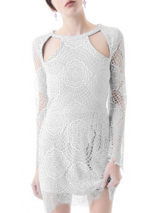 unique Lace Hollow Out Long Sleeves Dress - WHITE M