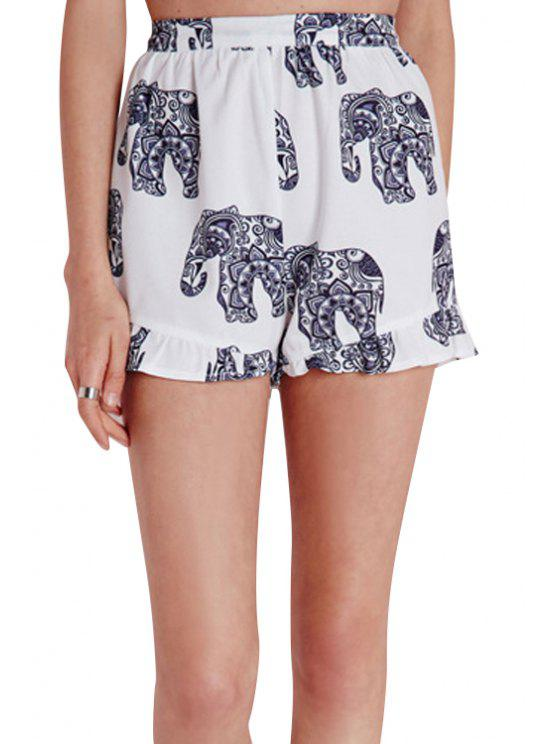 buy Elephant Print Back Zipper Fly Shorts - WHITE S
