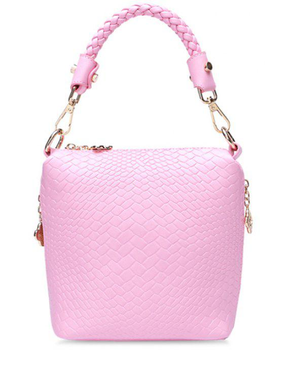 outfit Candy Color Woven Pattern Tote Bag - PINK