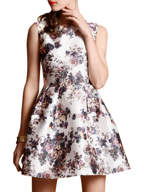 fancy Flower Print Ruffled A-Line Mini Dress - WHITE S