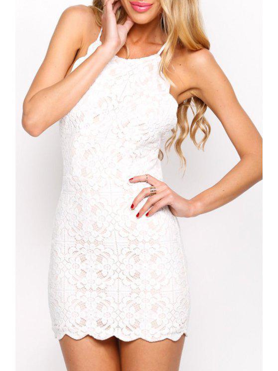 womens Lace Spaghetti Strap Open Back Dress - WHITE XL