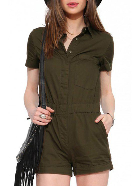 online Army Green Shirt Neck Short Sleeve Playsuit - ARMY GREEN S