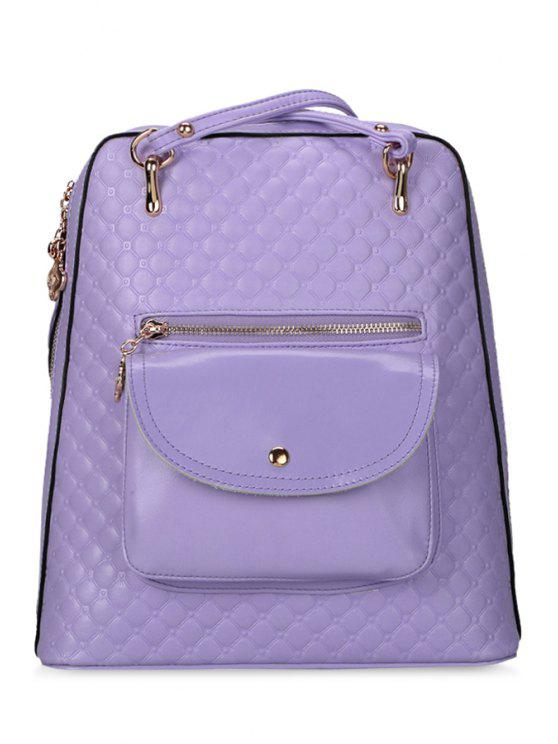 new Metallic Embossing Zippers Vintage Bag - PURPLE